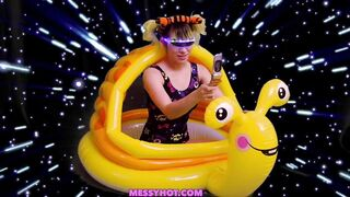 UltraHappy flying a space snail gets slimed