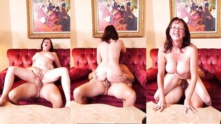 3 Screens: big-naturals aged lady on the couch