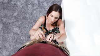 Busty MILF Pulls Down a Long One - Look at his Cock