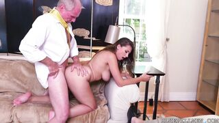 Curvy latina doggy style with old man