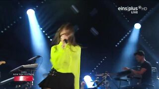 Dua Lipa on stage in a very short skirt - On Stage