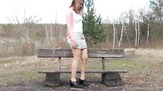Ani Blackfox on a park bench