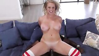 Brooke Wilde jumping happily on a BBC